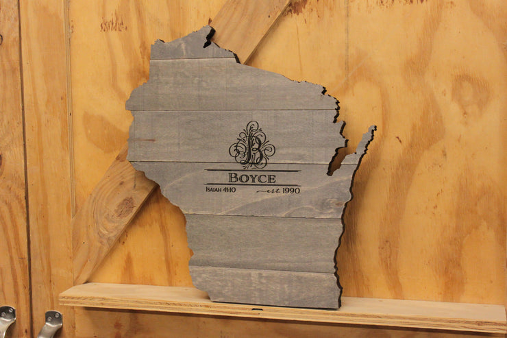 Pallet-Style State Cutout with Engraved Monogram (W-076)