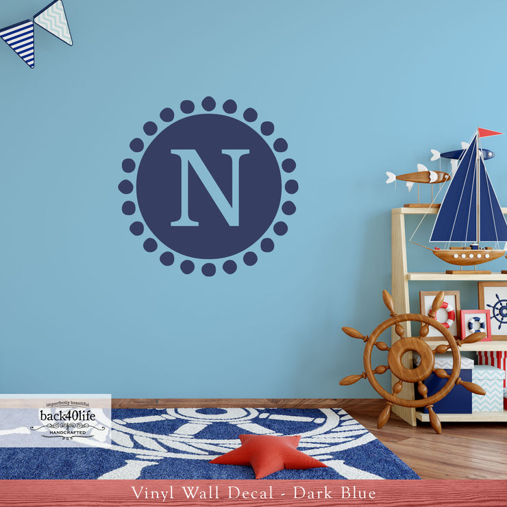 Dot Circle Monogram Vinyl Wall Decal (K-010)