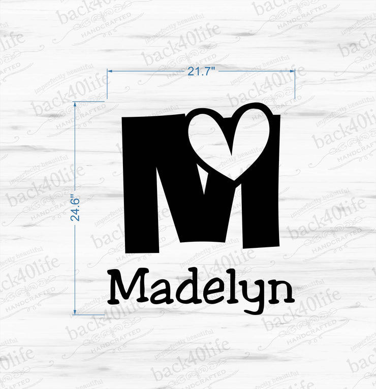 Heart Monogram with Name Vinyl Wall Decal (K-013)