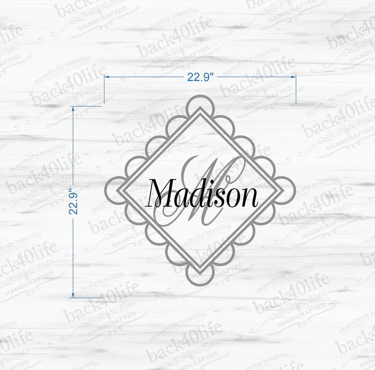 Curly Initial Monogram Vinyl Wall Decal (K-022)