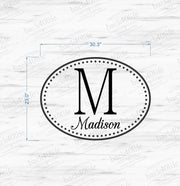 Polka Dot Oval Monogram with Name Vinyl Wall Decal (K-028a)