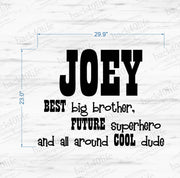 Best Big Brother with Personalized Name Vinyl Wall Decal (K-033d)