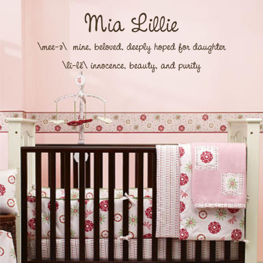 Name and Definition for Girls Vinyl Wall Decal (K-034a)
