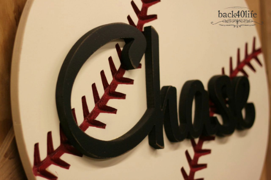 Kid's Name Cutout and Baseball Wooden Sign - The Chase (K-040)