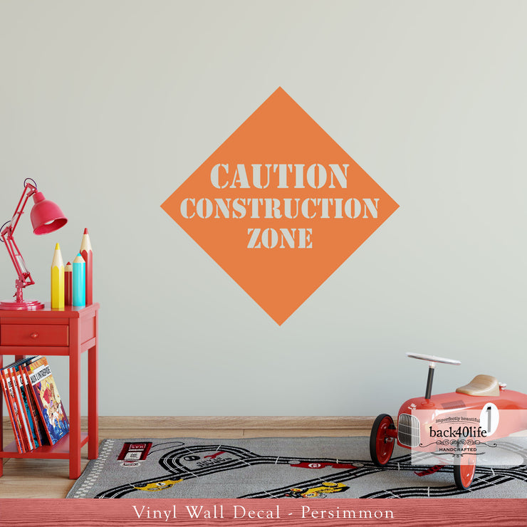 CAUTION Construction Zone Vinyl Wall Decal (K-045b)