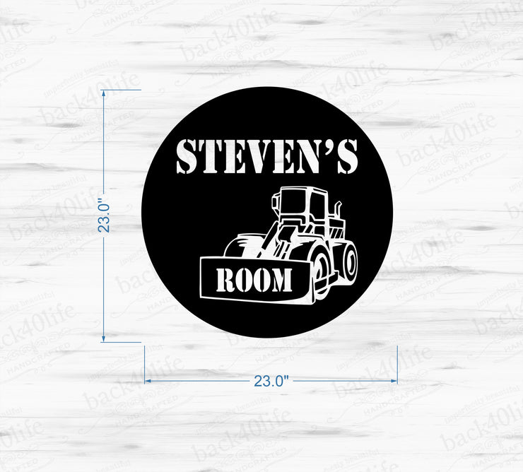 Construction Zone with Name Vinyl Wall Decal (K-045c)