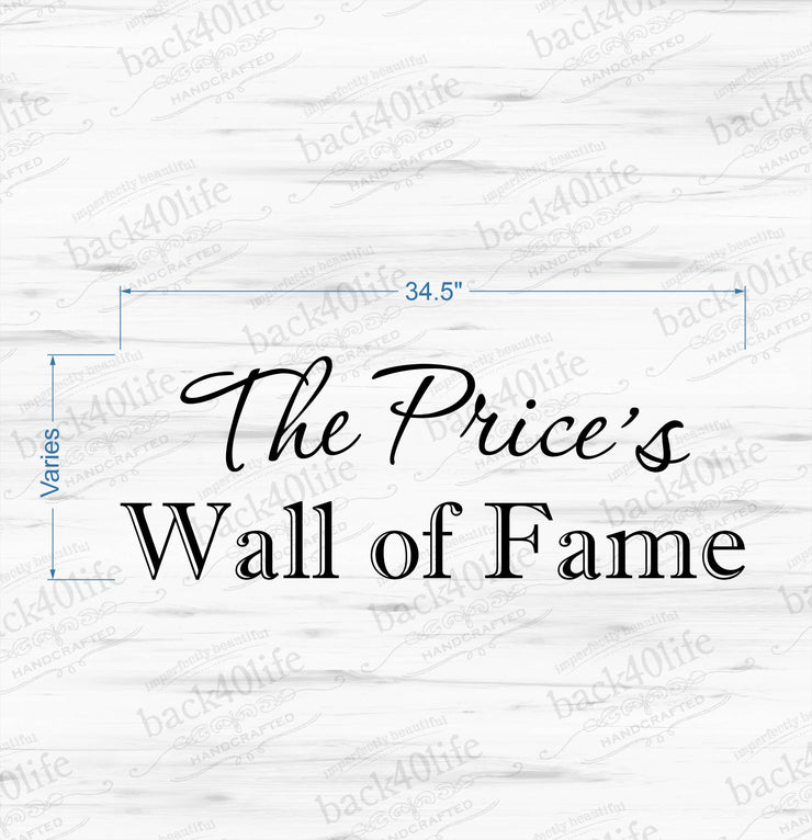 Wall of Fame Personalized Family or School Vinyl Wall Decal (K-049)
