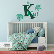Sea Turtle Monogram with Name Vinyl Wall Decal (K-071)