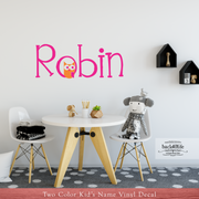 Kid's Name with Adorable Owl Vinyl Wall Decal (K-016)
