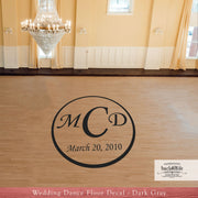 Large Monogram Wedding Reception Dance Floor Vinyl Decal (W-008)
