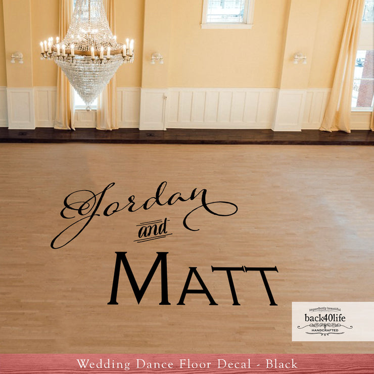 Couple's Names Wedding Reception Dance Floor Vinyl Decal (W-004b)