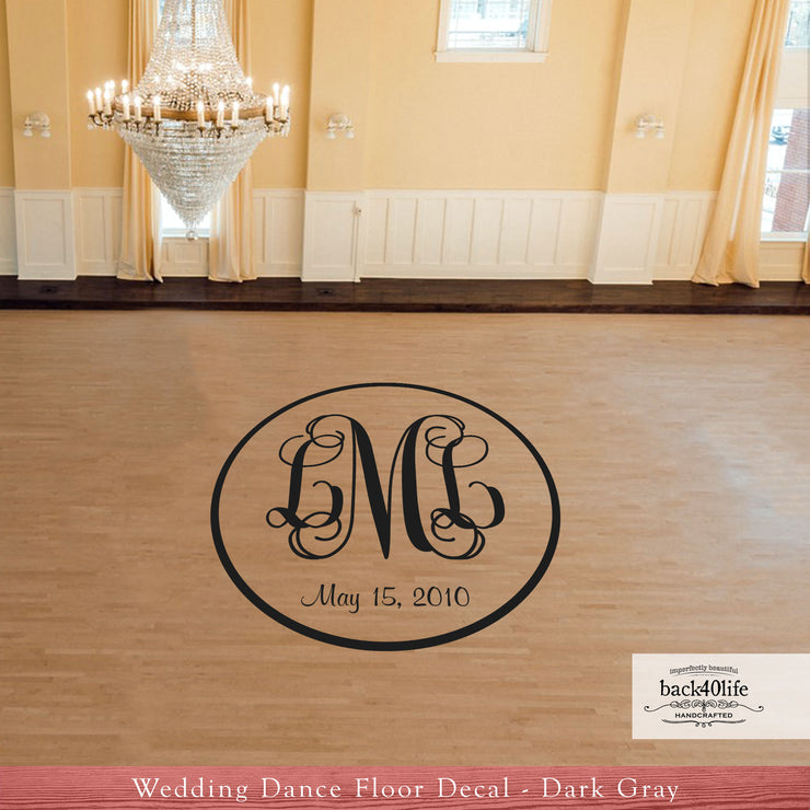 Intertwined Monogram Wedding Reception Dance Floor Vinyl Decal (W-012)