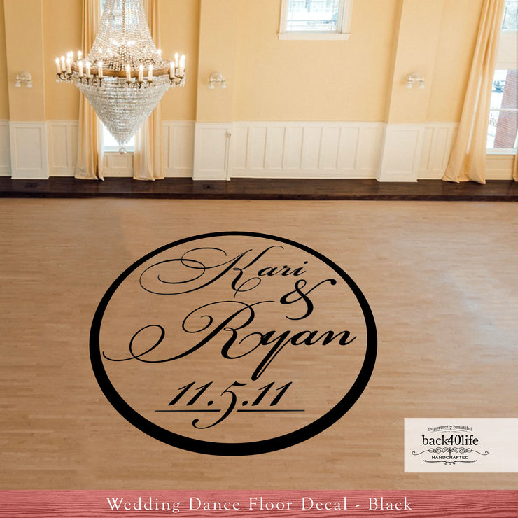 Couple's Names Wedding Reception Dance Floor Vinyl Decal (W-004)