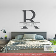Monogram Initial and Name Vinyl Wall Decal (M-025)