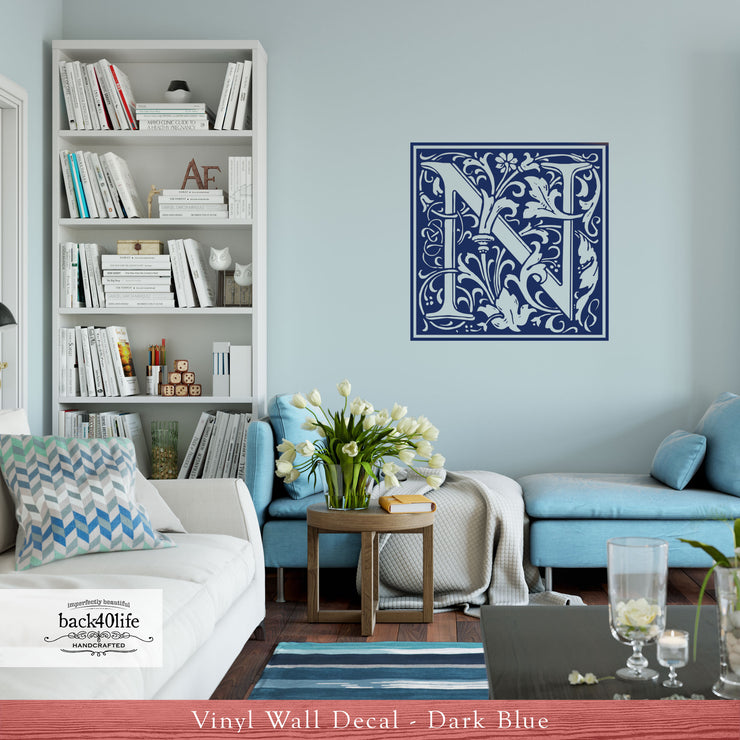 Fancy Scrollwork Monogram Vinyl Wall Decal (S-002d)