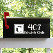 Double Block Solid Mailbox Numbers Street Address Vinyl Decal (E-004i)