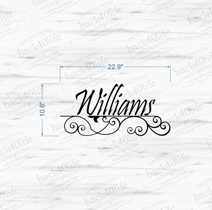 Family Name Wrought Iron Vinyl Wall Decal (M-003)