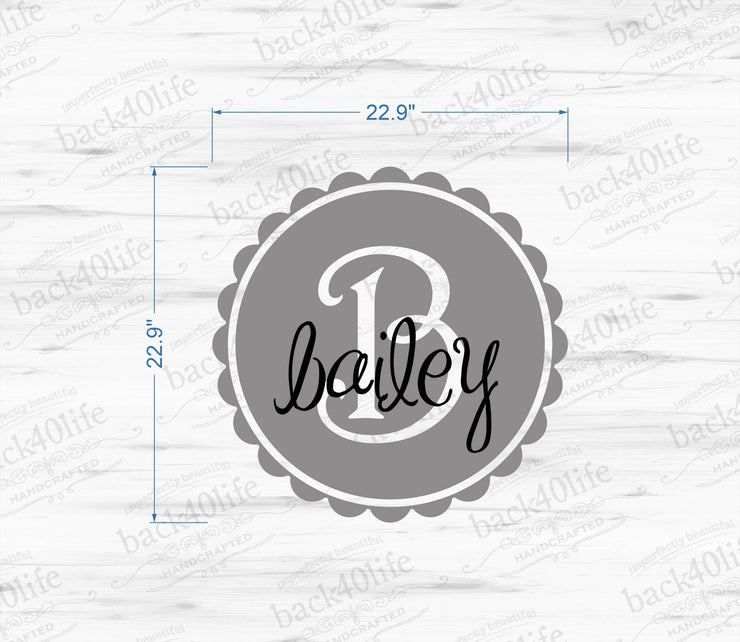 Scalloped Circle Monogram with Name Vinyl Wall Decal (M-005a)