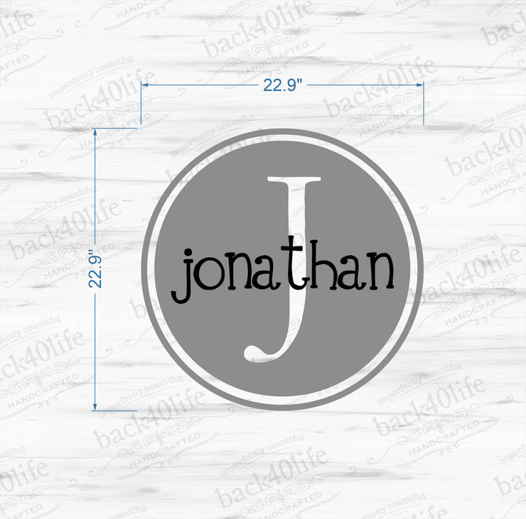 Kids Name with Monogram Double Circle Vinyl Wall Decal (M-012)