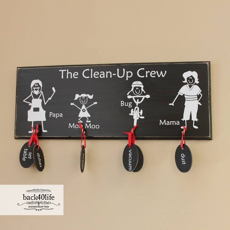 Family Chore Chart with Personalized Stick Figures - Painted Wood Sign (S-014a)
