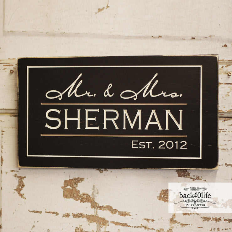 Family Name and Date Wood Sign - The Hendricks (S-028)