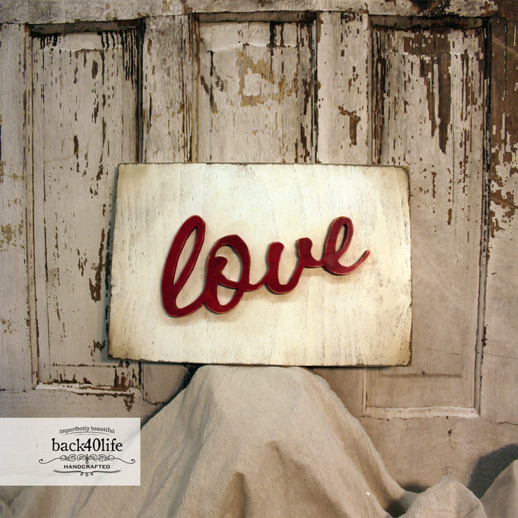 Love Wooden Cutout Phrase (S-034b)