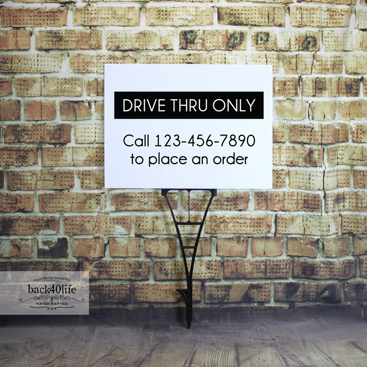 Drive Thru Only Information Sign - Coroplast Plastic Sign (S-104B)