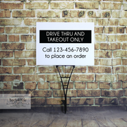 Drive Thru and Takeout Only Information Sign - Coroplast Plastic Sign (S-104C)