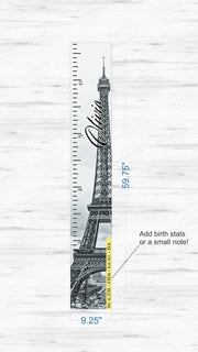 Wooden Kids Growth Height Chart Ruler for Boys and Girls (Eiffel Tower - Newsreel) - Express Edition