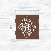 Monogram Initial Pallet-Style Wood Sign (W-062)
