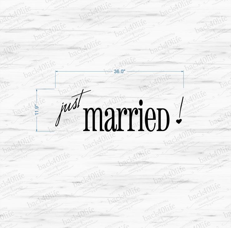 Just Married Vinyl Car Decal (W-068)