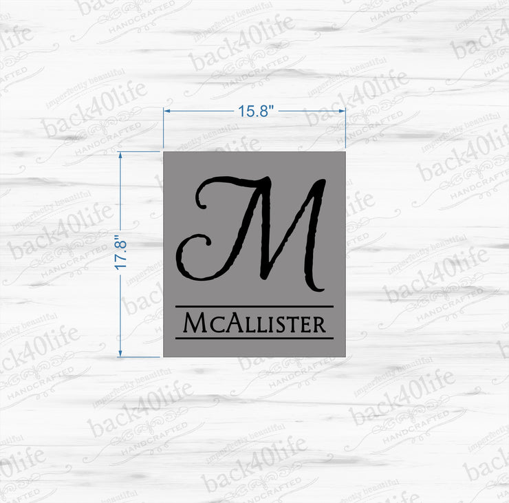 The McAllister - Monogram Initial and Name Sign (S-026)