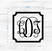Framed Intertwined Monogram Vinyl Wall Decal (M-014)