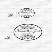 Elegant Oval Wedding Reception Dance Floor Vinyl Decal (W-006)