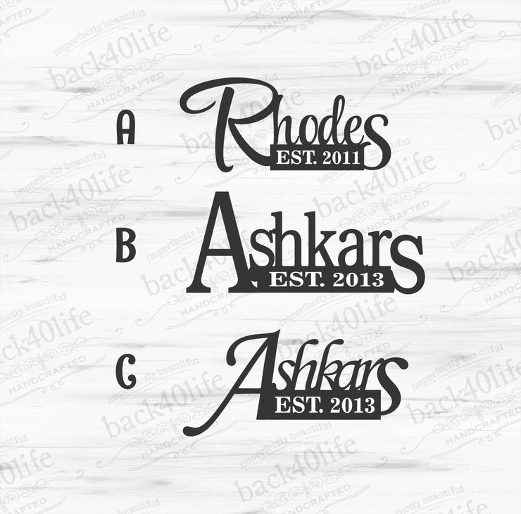Family Name and Established Date Monogram Vinyl Wall Decal (M-021)
