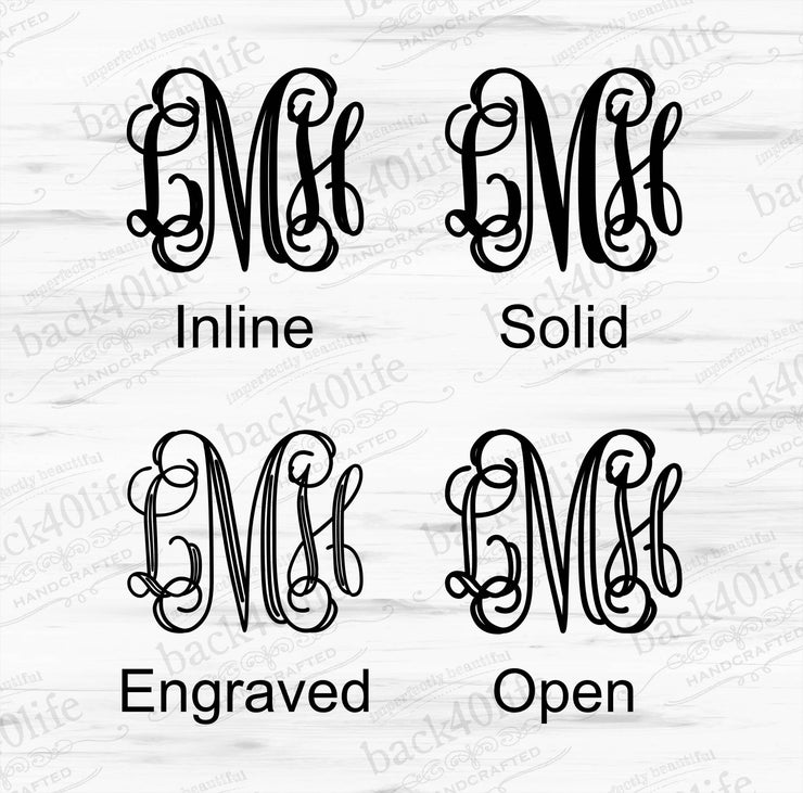 Classic Intertwined Monogram Vinyl Wall Decal (M-013)
