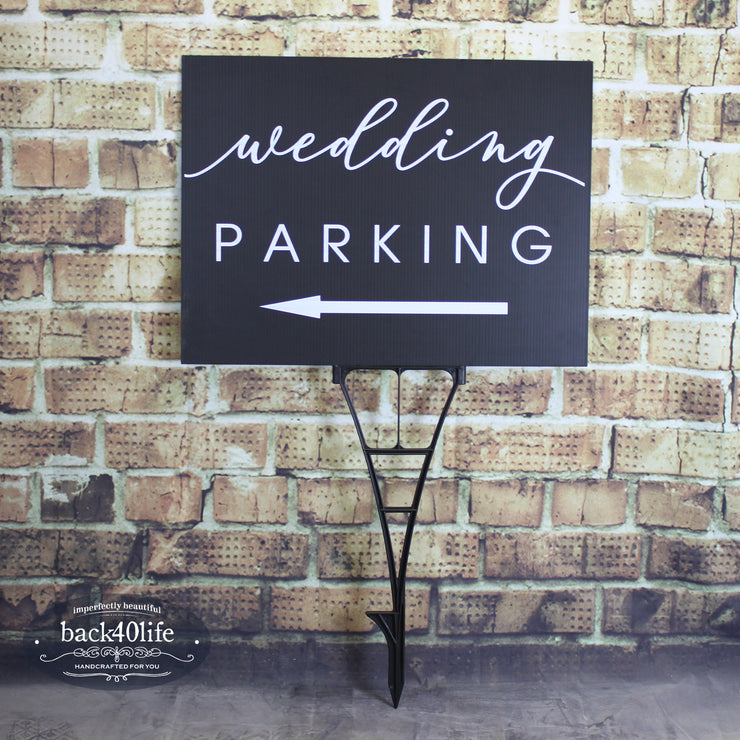 Painted Wedding Parking Directional Sign (W-020-2)