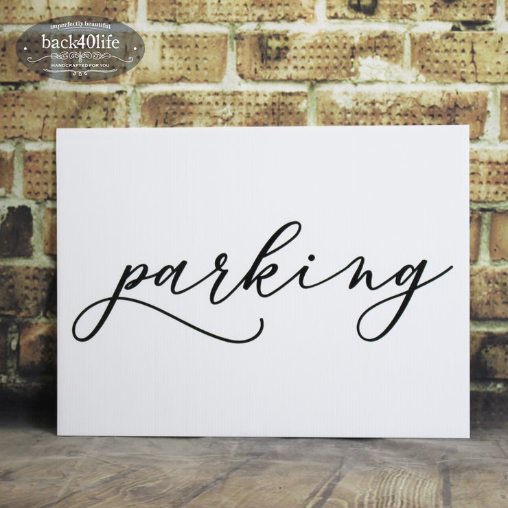 Painted Wedding Parking Directional Sign (W-020)