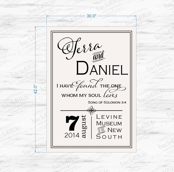I Have Found the One Whom My Soul Loves - Wedding or Reception Wooden Sign - Terra and Daniel (W-070a)