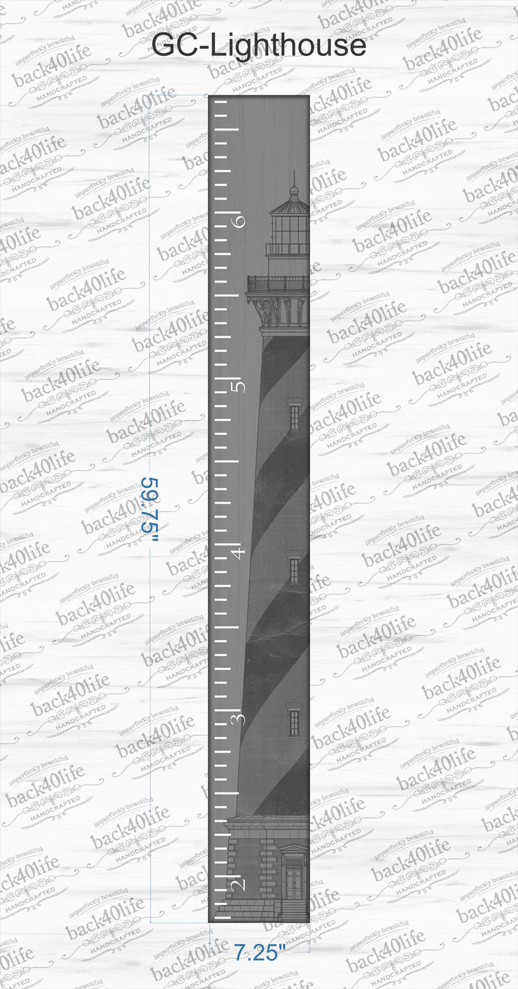 Wooden Kids Growth Chart Ruler for Boys and Girls Painted or Engraved (The Lighthouse)