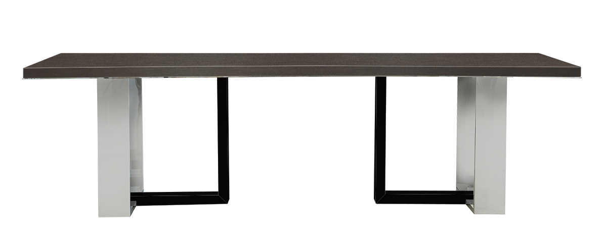 Aster Dining Table-Polished Stainless Steel Base