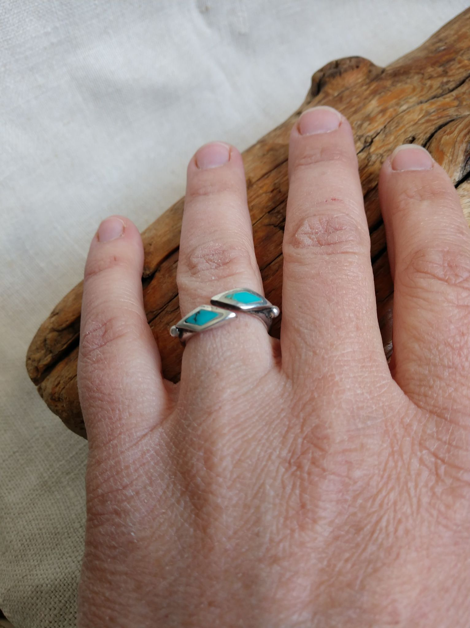 Genuine Turquoise Diamond Shaped Size 6 Ring