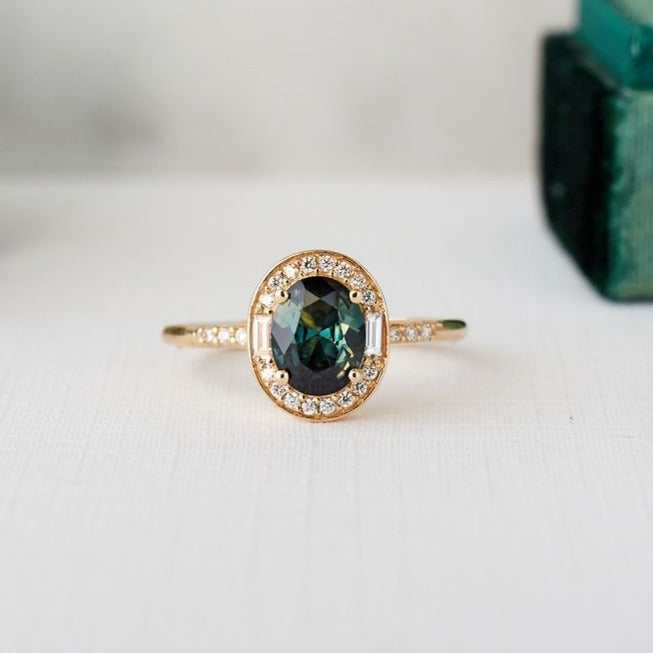 Athena Ring - 1.04 carat peacock green sapphire