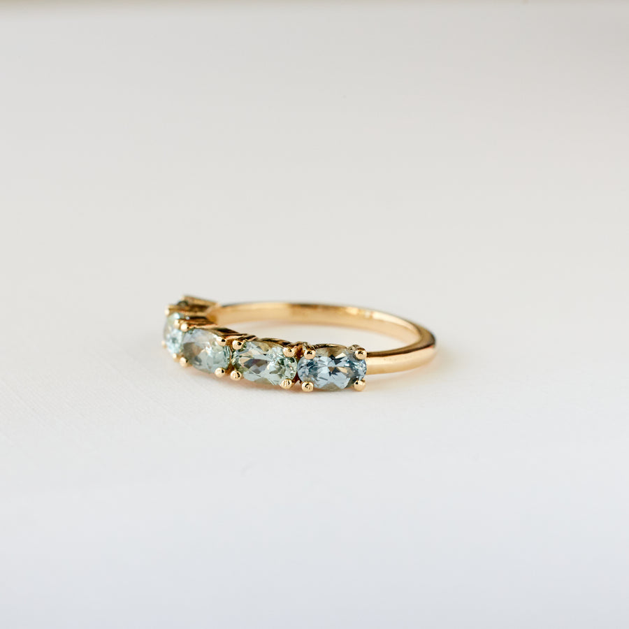 Seabright Ring - Teal Green Sapphires