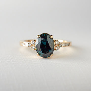 Marigold Ring - 2.10 carat teal oval sapphire