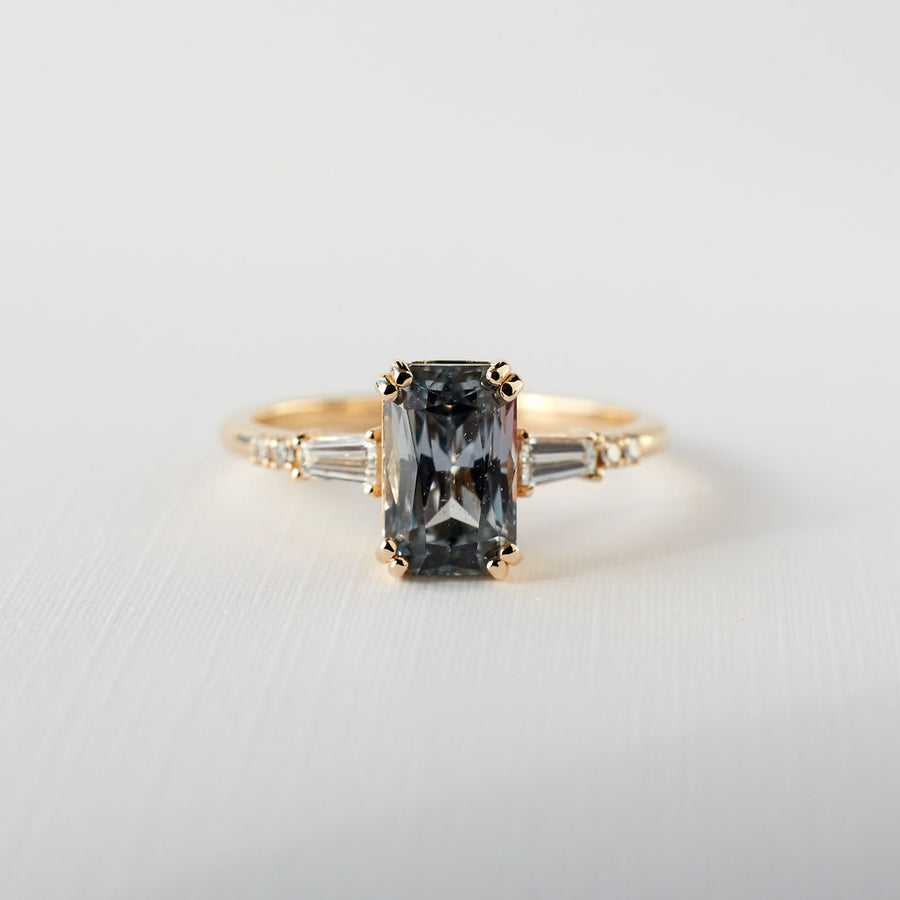 Sylvie Ring - 2.14ct. Elongated Radiant Cut Grey Sapphire
