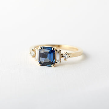Josie Ring - 1.24ct. Blue Octagon Shaped Sapphire