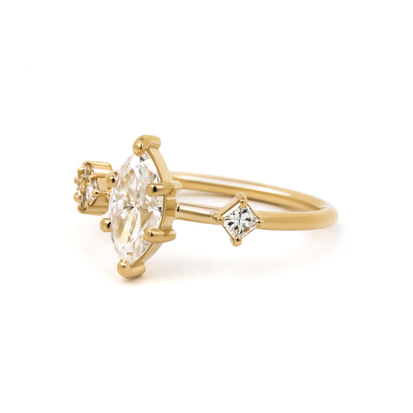 Harper Ring, side angle showing princess cut diamond.