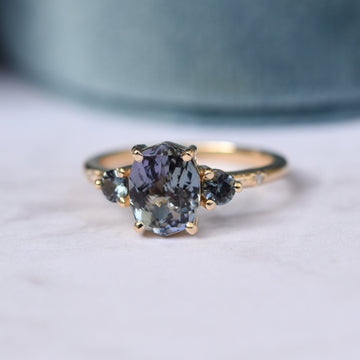 Clio Ring by Porter Gulch. Unheated tanzanite and sapphire ring.
