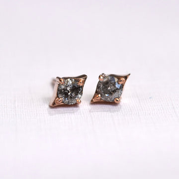 Emma Earrings - Rose Gold + Salt and Pepper Diamonds
